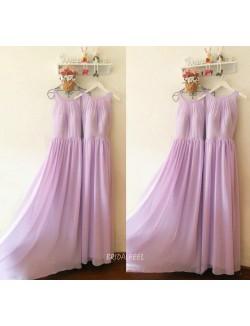 Lilac Chiffon Sleeveless Jewel Neck Long Bridesmaid Dress