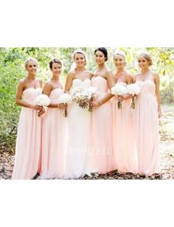 Pink Chiffon Strapless Sweetheart Long Bridesmaid Dress