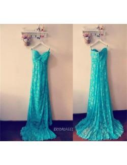 Floral Green Lace Strapless Long Elegant Bridesmaid Dress