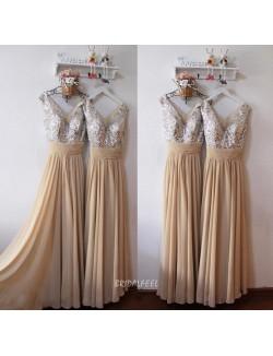 Sleeveless Beaded V Cut Camel Unique Long Bridesmaid Dress