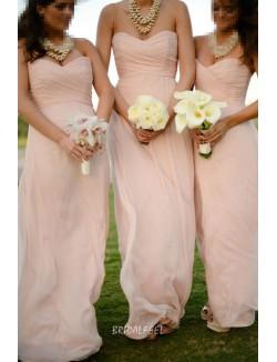 Pleated Blush Chiffon Strapless Simple Long Bridesmaid