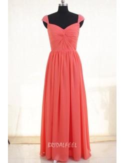 Coral Pink Chiffon Queen Anne Neck Floor Length Long Bridesmaid Dress