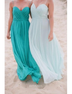 Draped Soft Blue Chiffon Simple Long Bridesmaid Dress Spaghetti Straps