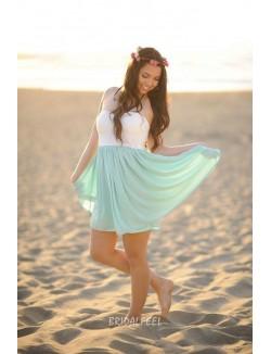 Two Tone Strapless Lace And Chiffon Short Bridesmaid Dress