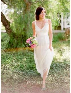 Simple V Neckline Sleeveless Floor Length Lace Chiffon Wedding Dress