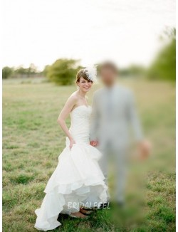 Simple Strapless Sweetheart White Satin Mermaid Wedding Dress