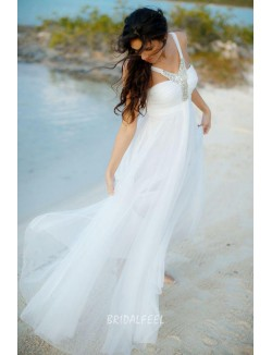 Informal Sleeveless A Line Floor Length Summer Tulle Wedding Dress