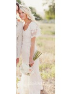 Ivory Scalloped Lace Flutter Sleeve Pretty Spring Wedding Dress