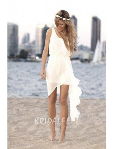 Sleeveless Scoop Neck Summer High Low Chiffon Beach Wedding Dress