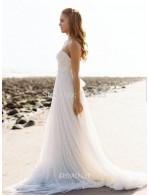 Strapless Floor Length Long White Chiffon Summer Wedding Dress
