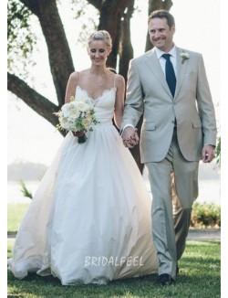 Destination Ivory Sleeveless Spaghetti Straps Summer Wedding Dress