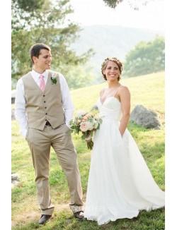 Spaghetti Straps A Line Backless Floor Length Chiffon Wedding Dress