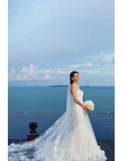 Ivory Strapless Sweetheart Floor Length Mermaid Lace Wedding Dress