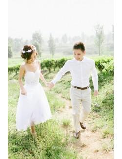 Destination A Line Short Knee Length Backless Lace Wedding Dress