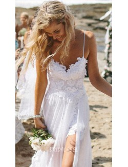 Spaghetti A Line Floor Length Backless Chiffon Lace Wedding Dress