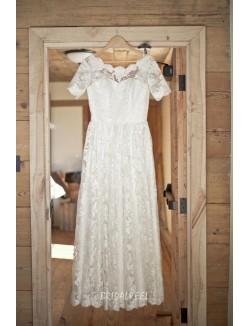 Boat Neck Short Sleeves Vintage Floor Length Lace Fall Wedding Dress