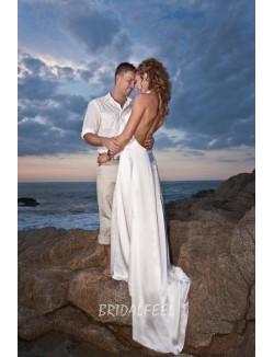 A Line Halter Neckline Floor Length Court Train Beach Wedding Dress