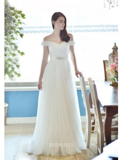 Off The Shoulder A Line Floor Length Sheer Tulle Long Fall Wedding Dress