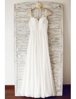Beaded Cap Sleeve Pleated Elegant A Line Floor Length Chiffon Wedding Dress