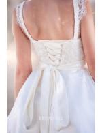 A Line Strapless Sweetheart Short Knee Length Summer Lace Wedding Dress