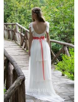 Vintage Boho Long A Line Red Lace Summer Bridal Wedding Dress