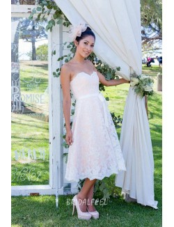 Lace Strapless Sweetheart A Line Knee Length Elegant Fall Bridal Dress