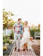 High Low Ivory Destination Strapless Chiffon Summer Bridal Dress