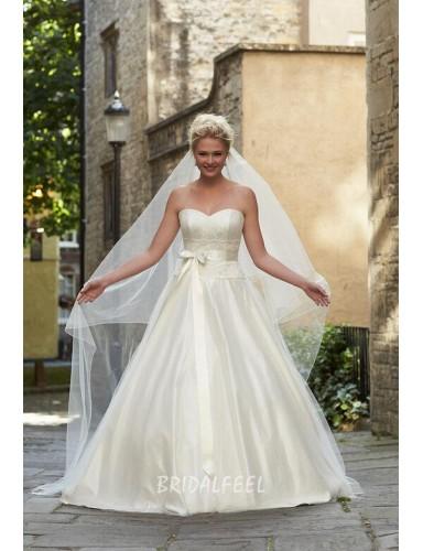 Cream Satin A Line Strapless Sweetheart Floor Length Wedding Dress