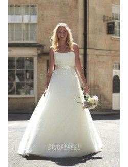 Romantic Floral Ivory Strapless A Line Sweep Train Fall Wedding Dress