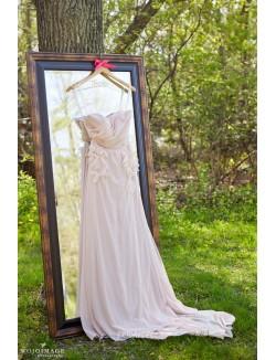 Romantic Blush Strapless Pleated A Line Chiffon Fall Wedding Dress
