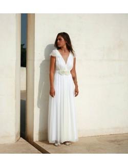 V Neck Long White Chiffon Unique Flower A Line Summer Wedding Dress