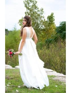 V Neck Sleeveless Ivory Empire Long Chiffon Maternity Wedding Dress