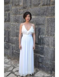 Sleeveless Spaghetti Strap Floor Length Summer Chiffon Wedding Dress