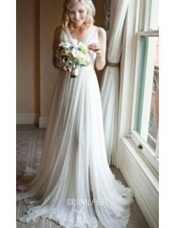 Sleeveless Illusion V Neck Sexy Long Ivory Chiffon Fall Wedding Dress