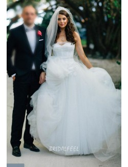 White Strapless Layered Tulle Fall Beautiful Long Ball Gown Wedding Dress