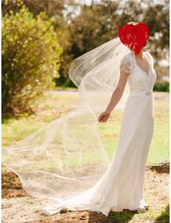 Elegant Cap Sleeves Sheer Back Floor Length Chiffon Lace Wedding Dress