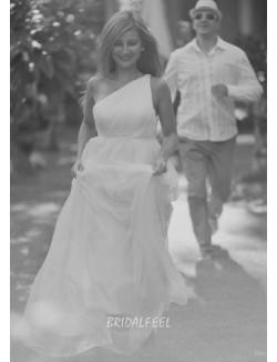Simple A Line One Shoulder Floor Length White Chiffon Wedding Dress