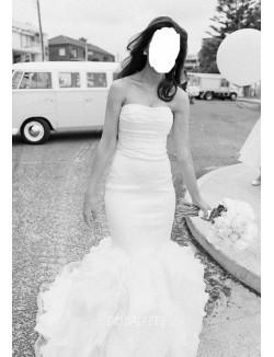 Simple Strapless Neckline Organza Mermaid Winter Wedding Dress