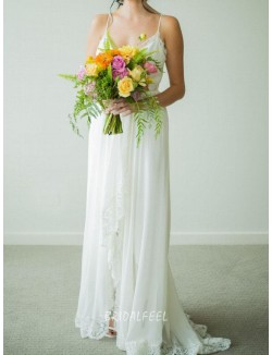 Spaghetti Straps Front Slit Informal Chiffon Lace Wedding Dress