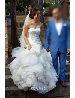 Destination Strapless Layered Organza Mermaid Wedding Dress