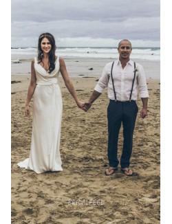 Cowl Neckline Backless Floor Length Sheath Satin Beach Wedding Dress
