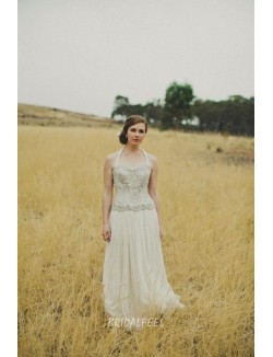 Sparkly Beaded Embroidered Fall A Line Chiffon Wedding Dress