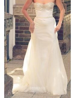 Simple Strapless Sweetheart Beaded Mermaid Satin Wedding Dress