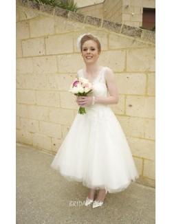 Vintage A Line V Neckline Tulle Lace Short Tea Length Wedding Dress
