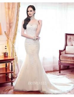 Elegant Illusion Crew Neck Winter Mermaid Lace Wedding Dress