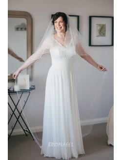 Cap Sleeves V Back Amazing Lace Chiffon A Line Wedding Dress