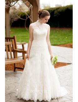 Stunning A Line High Neck Sleeveless Long Lace Wedding Dress