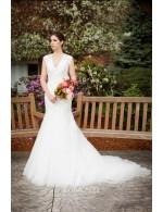 V Neck Cap Sleeves Sheer Back Generous Lace Tulle Wedding Dress