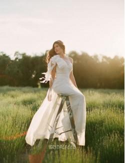 Unique Illusion One Shoulder Tulle Mermaid Wedding Dress