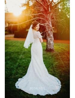 Floor Length Cap Sleeves Beaded Classic Mermaid Lace Wedding Dress